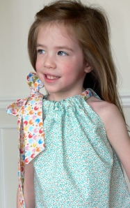 Erin posing in Margot's dress