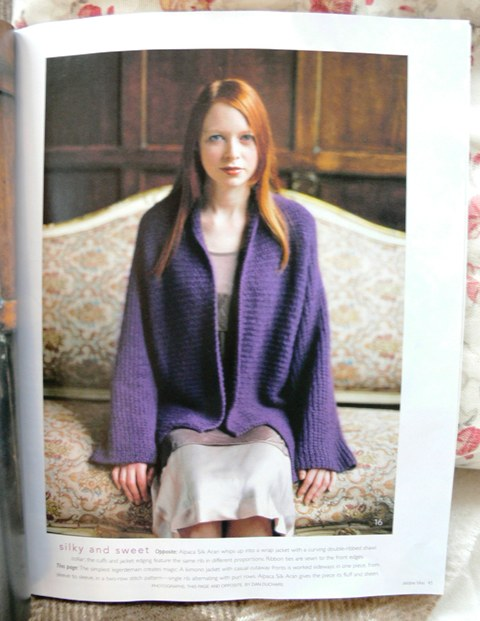 {Pattern: Kimono Jacket, knit in DB Alpaca Silk Aran}