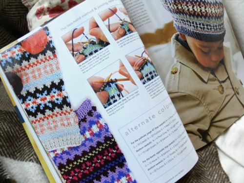 {Both one and two-handed fair isle techniques are demonstrated}