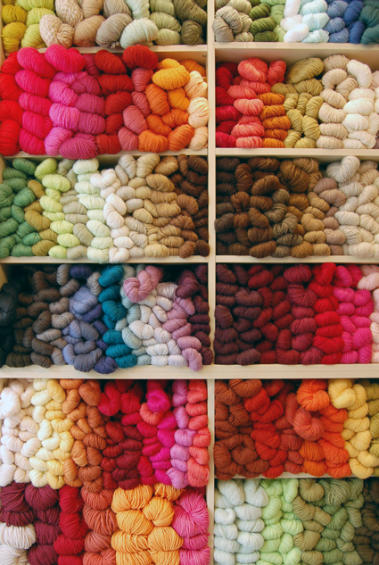 {Yarn wall at The Purl Bee}